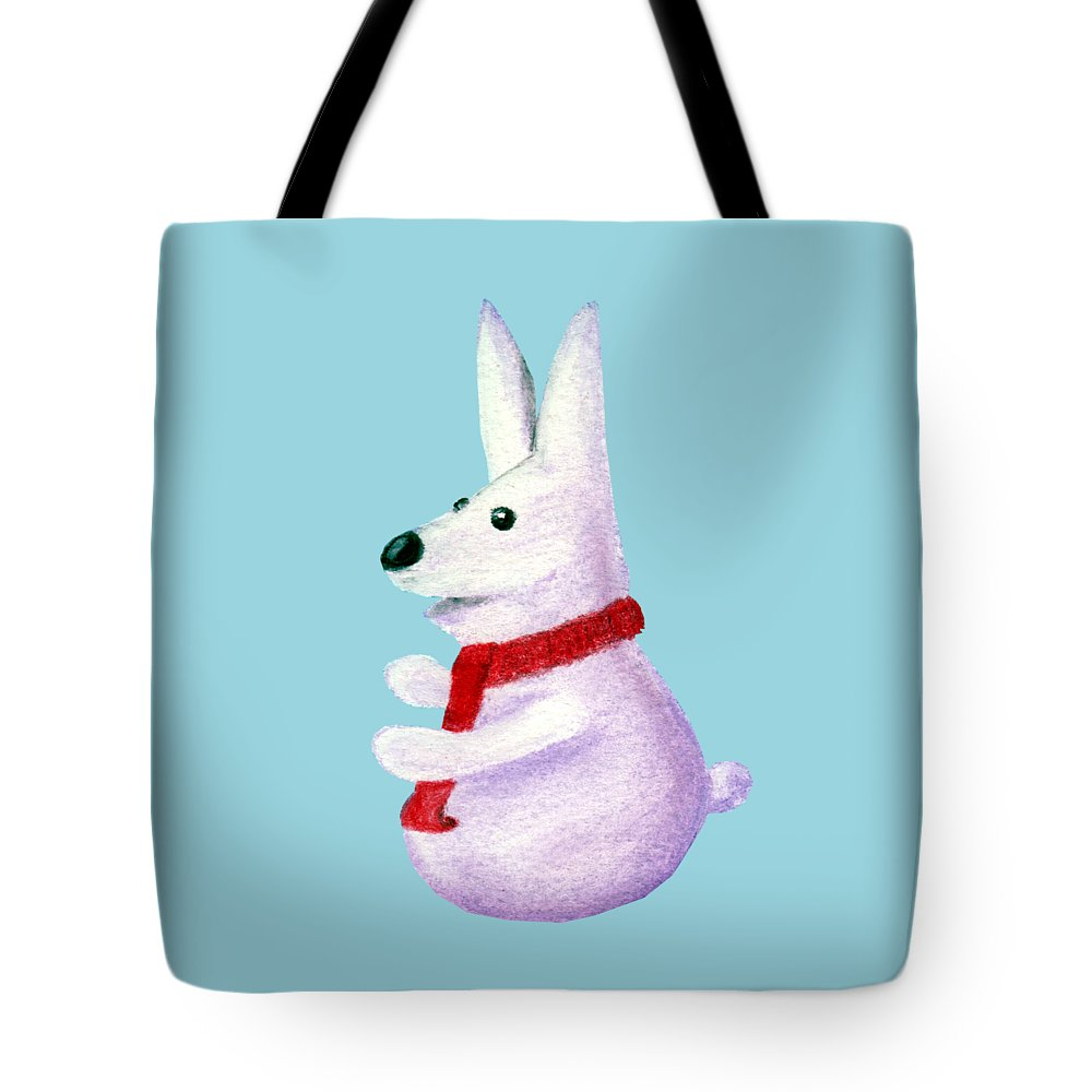 Snow Tote Bag featuring the painting Snow Bunny by Anastasiya Malakhova