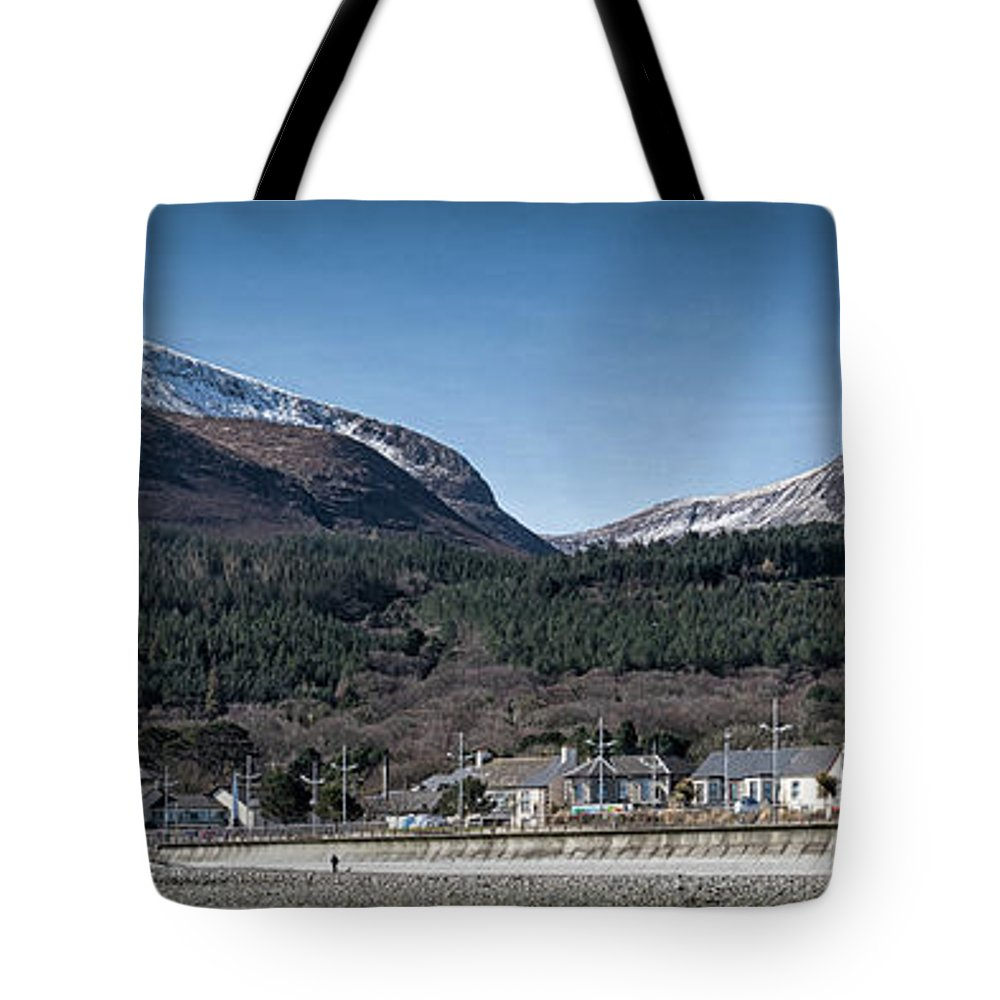 Donard Tote Bag featuring the photograph Snow Capped Mourne Mountains by Nigel R Bell