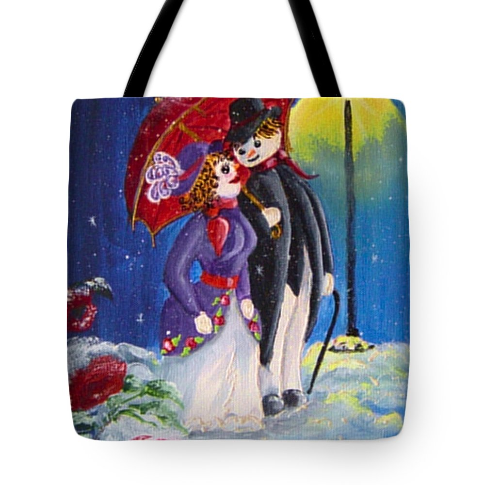 Snow Tote Bag featuring the painting Snow Couple by Quwatha Valentine