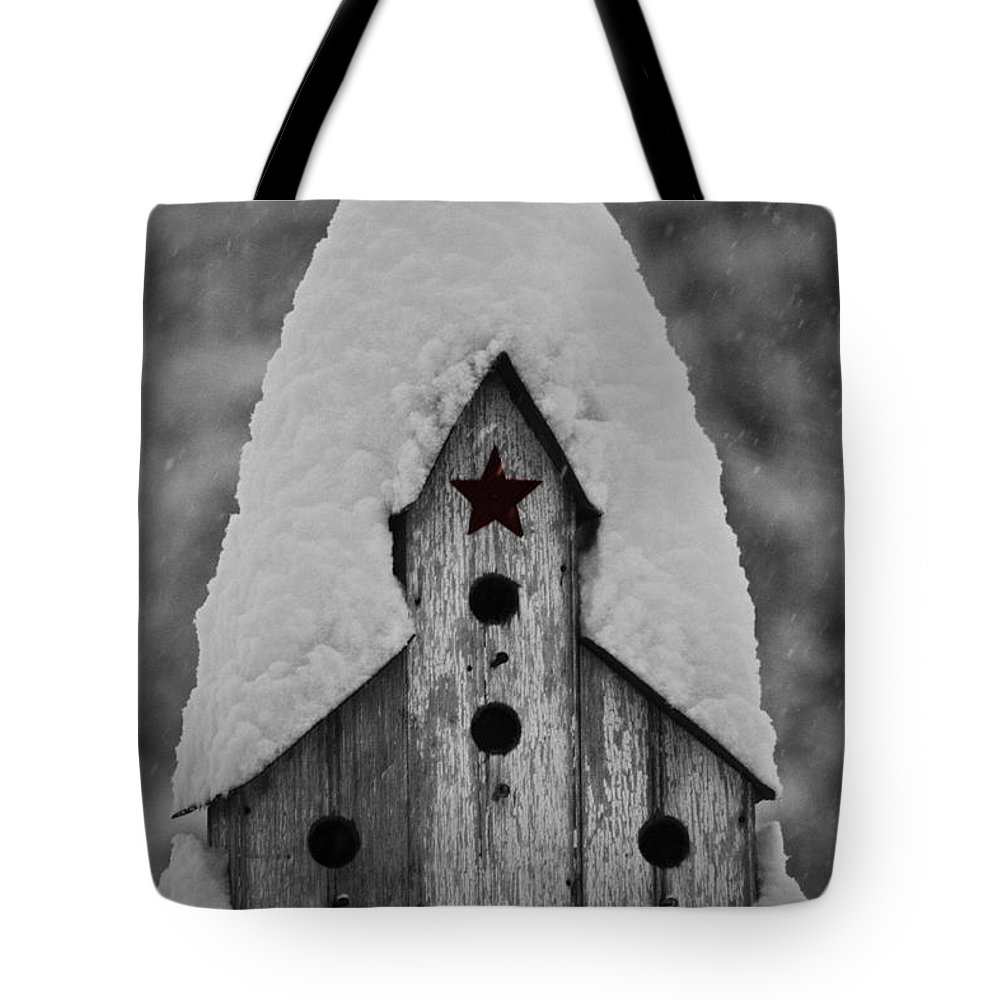 Snow Tote Bag featuring the photograph Snow Covered Birdhouse by Teresa Mucha
