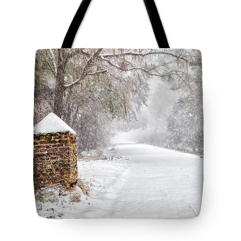 Chisolm Tote Bag featuring the photograph Snow Covered Brick Pillar by Scott Hansen