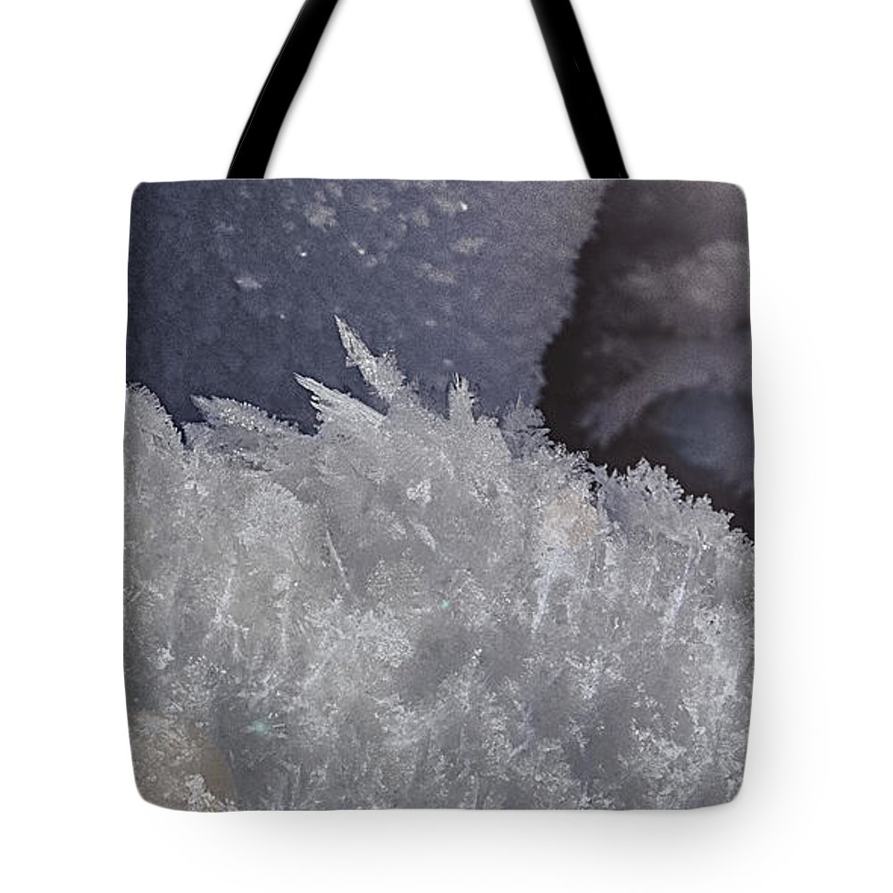 Snow Tote Bag featuring the photograph Snow Crystals by Tammy Lauritsen