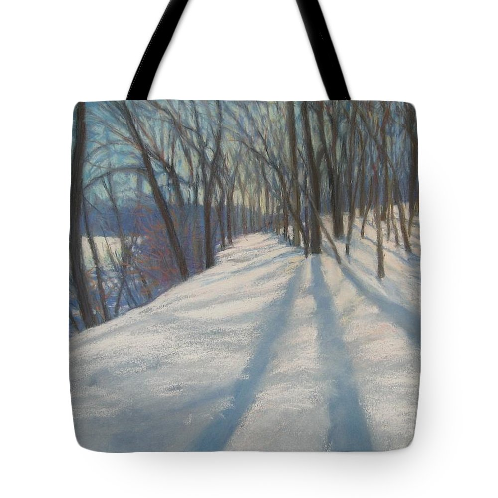 Mcgrath Tote Bag featuring the painting Snow Day At Winnekini by Leslie Alfred McGrath