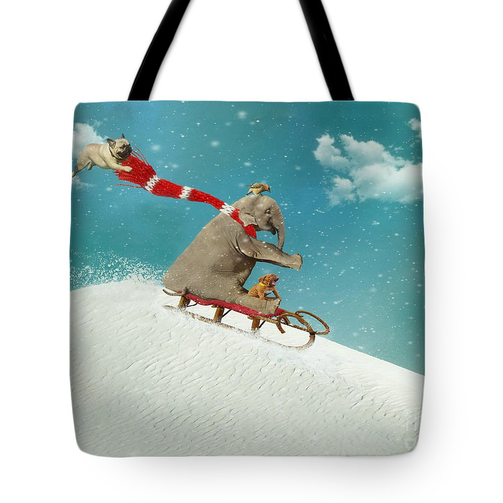 Snow Tote Bag featuring the digital art Snow Day by Laura Munro