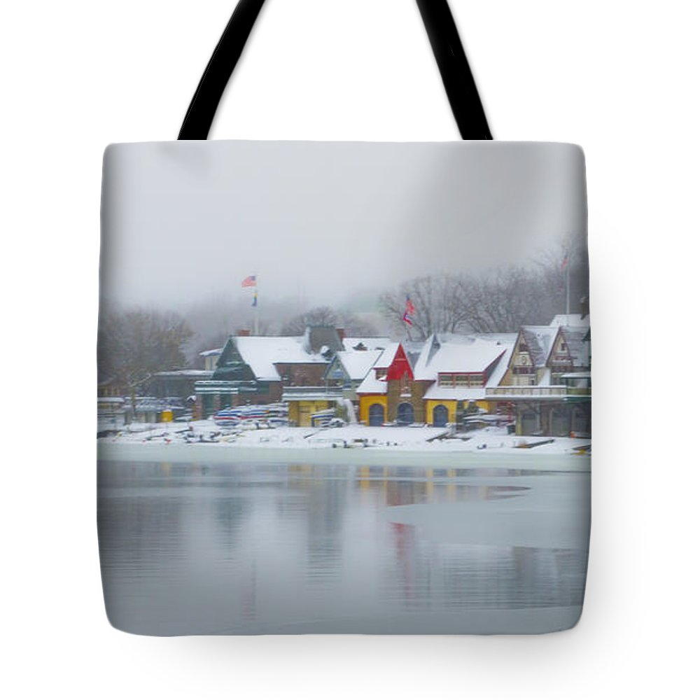 Snow Tote Bag featuring the photograph Snow Falling On Boathouse Row by Bill Cannon