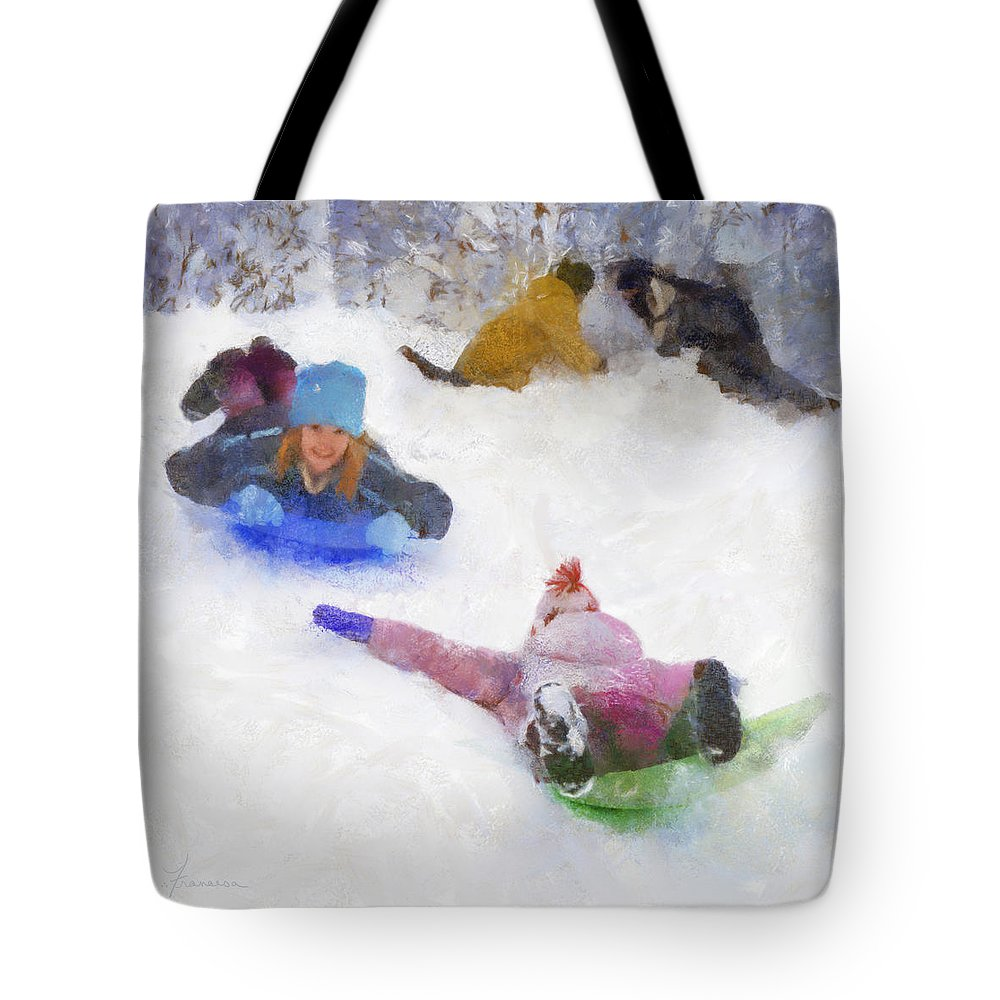 Children Child Boys Girls Winter Snow Hill Sled Sledding Build Building Fort Snowballs Cold Sport Activity Play Fun Tote Bag featuring the digital art Snow Fun by Francesa Miller