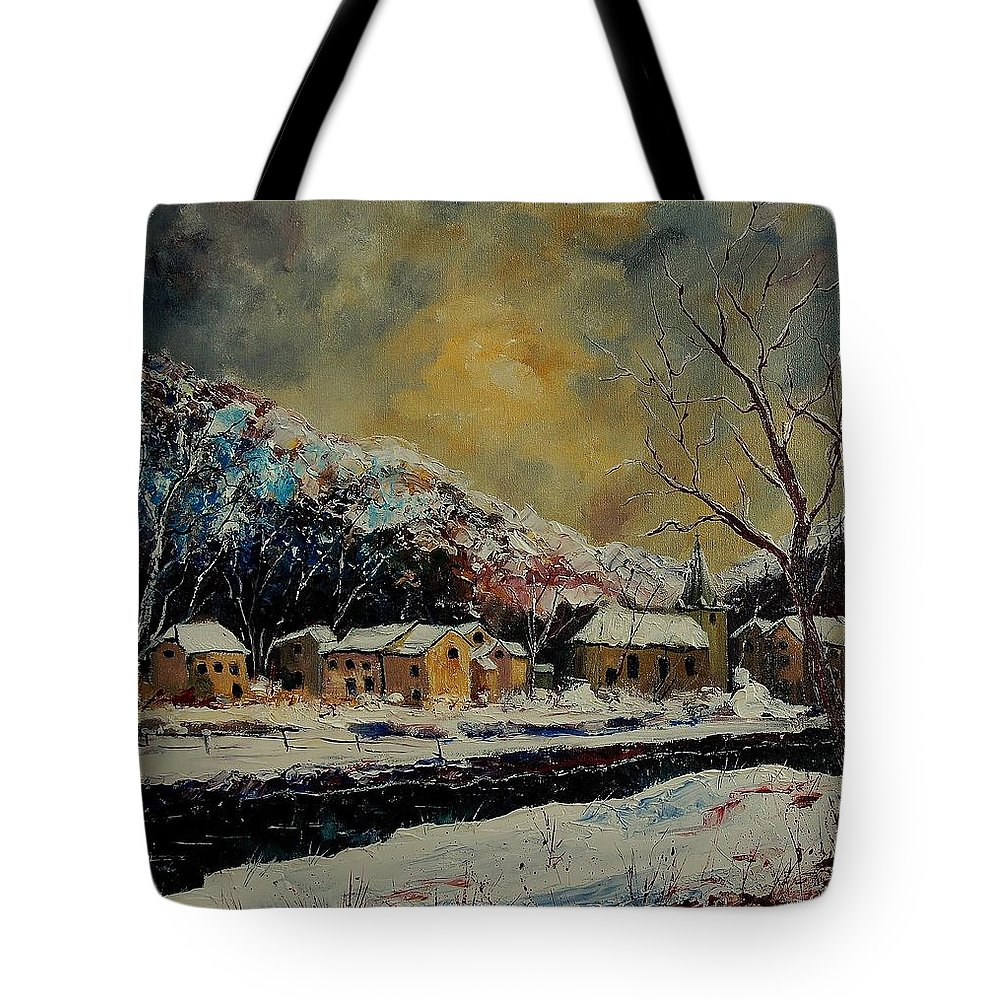 Winter Tote Bag featuring the painting Snow In Bohan by Pol Ledent
