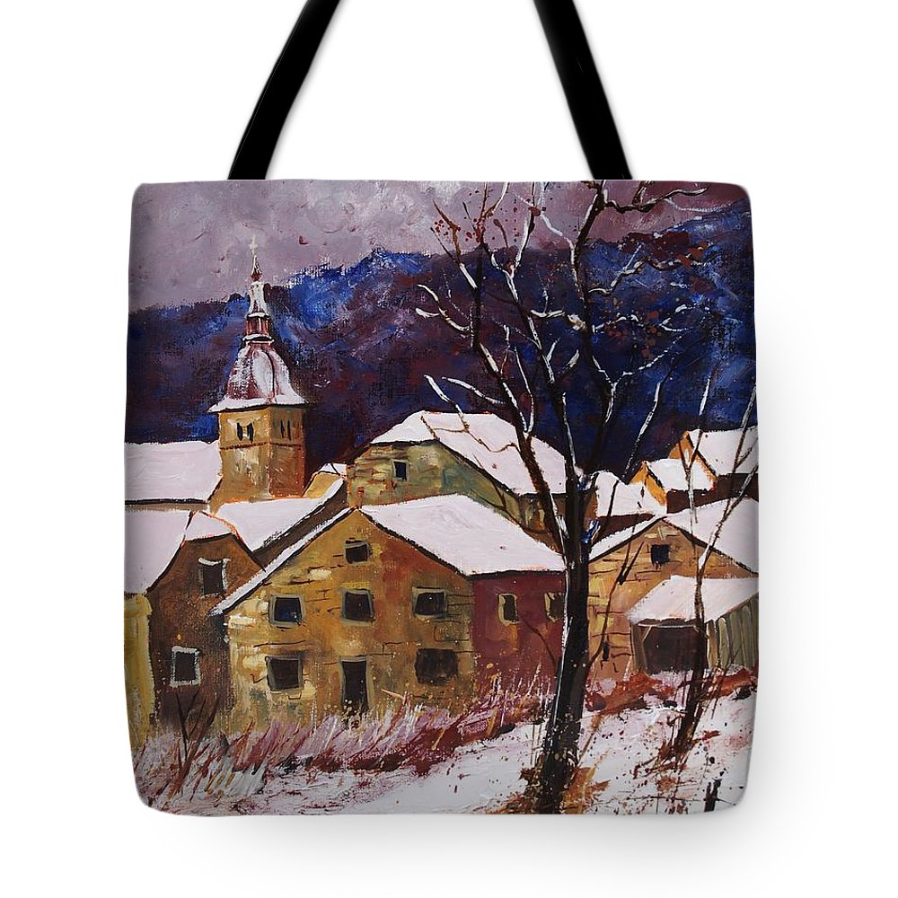 Landscape Tote Bag featuring the painting Snow In Chassepierre by Pol Ledent