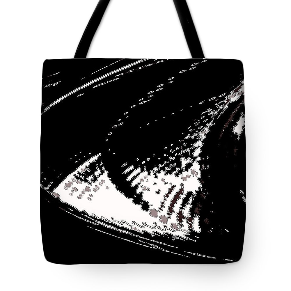 Abstract Tote Bag featuring the digital art Snow In My Hoodie by Lenore Senior