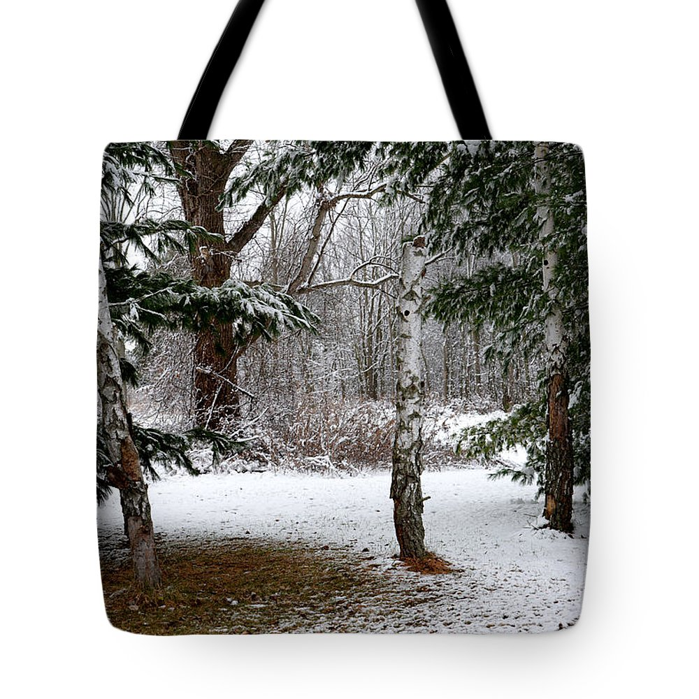 Snow Tote Bag featuring the photograph Snow In Pines by Barbara Treaster