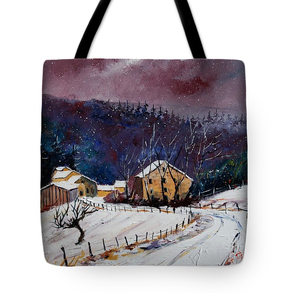 Landscape Tote Bag featuring the painting Snow In Sechery by Pol Ledent