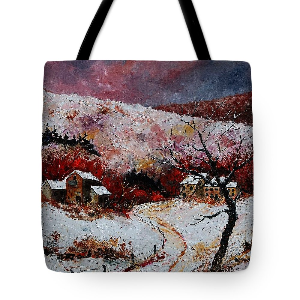 Snow Tote Bag featuring the painting Snow In The Ardennes 78 by Pol Ledent