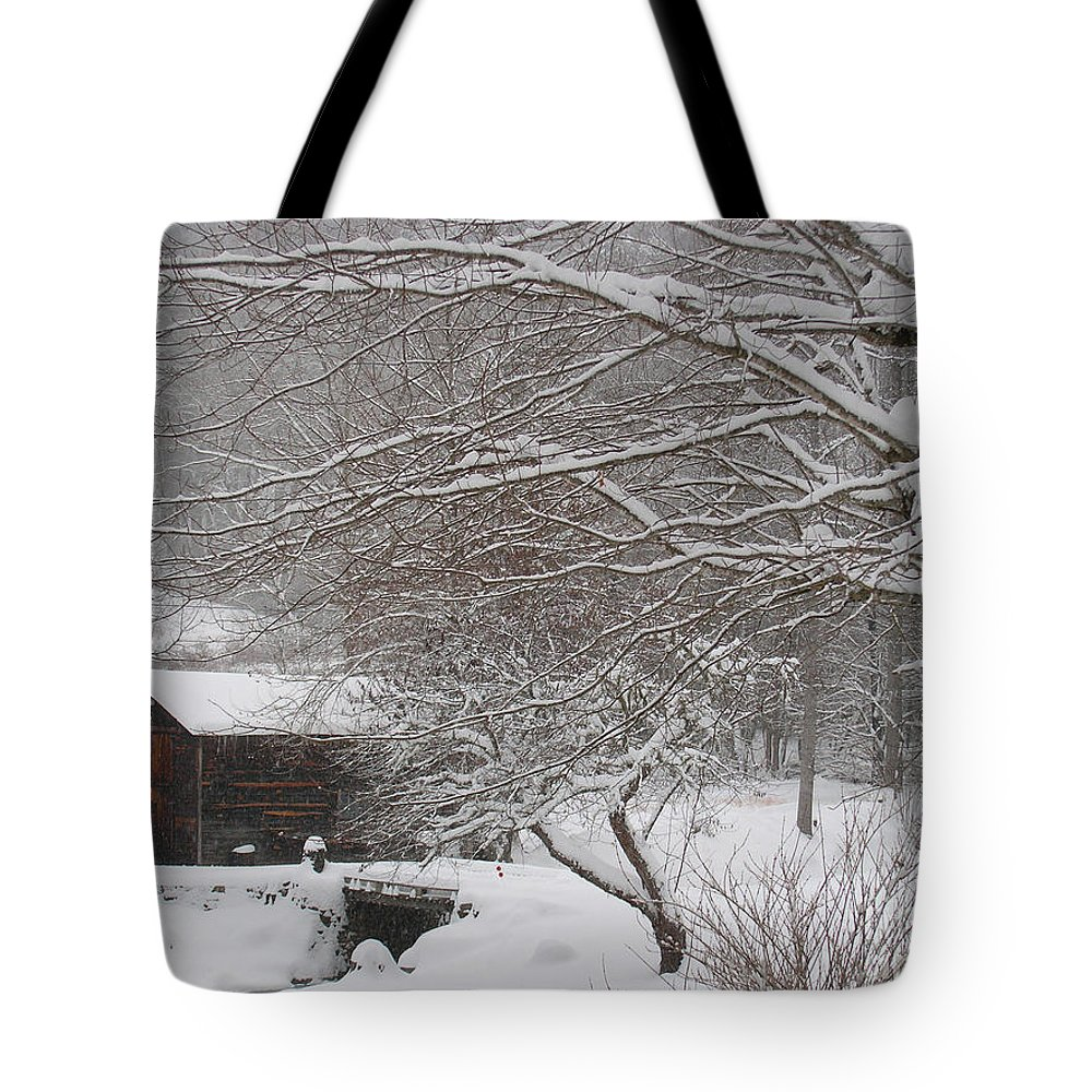 Snow In The Country Tote Bag featuring the photograph Snow In The Country. by Itai Minovitz