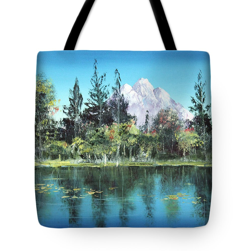 Mountain Tote Bag featuring the painting Snow In The Mountains by Arline Wagner