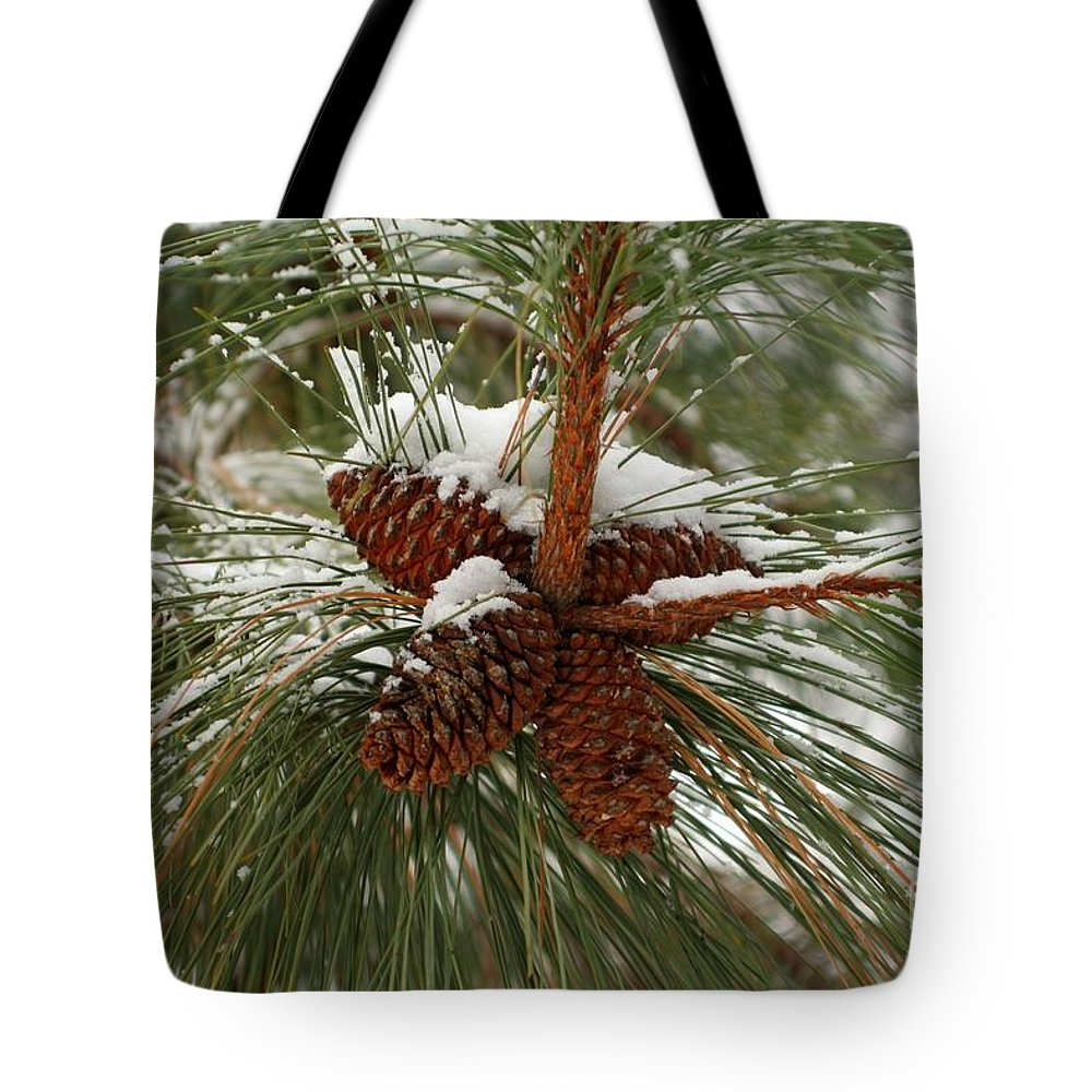 Pine Tote Bag featuring the photograph Snow In The Pine by Idaho Scenic Images Linda Lantzy