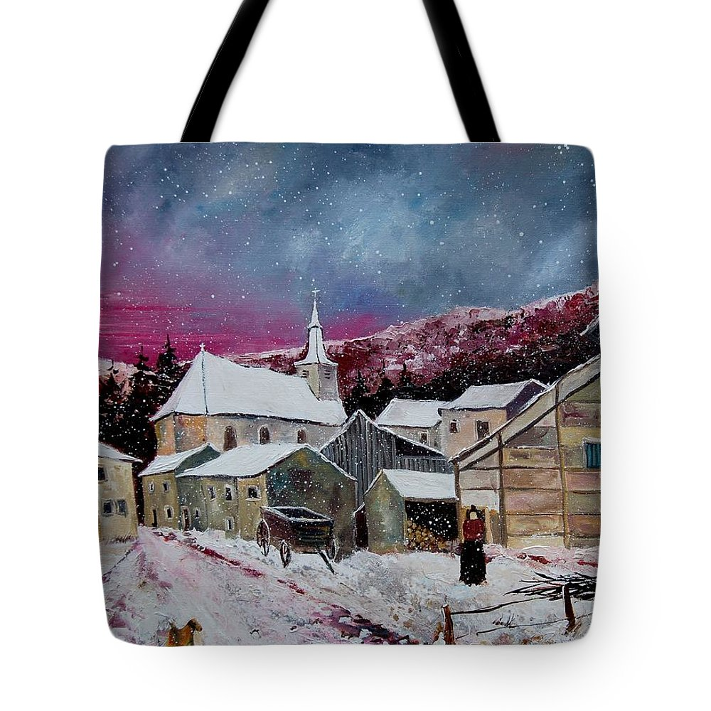 Snow Tote Bag featuring the painting Snow Is Falling by Pol Ledent