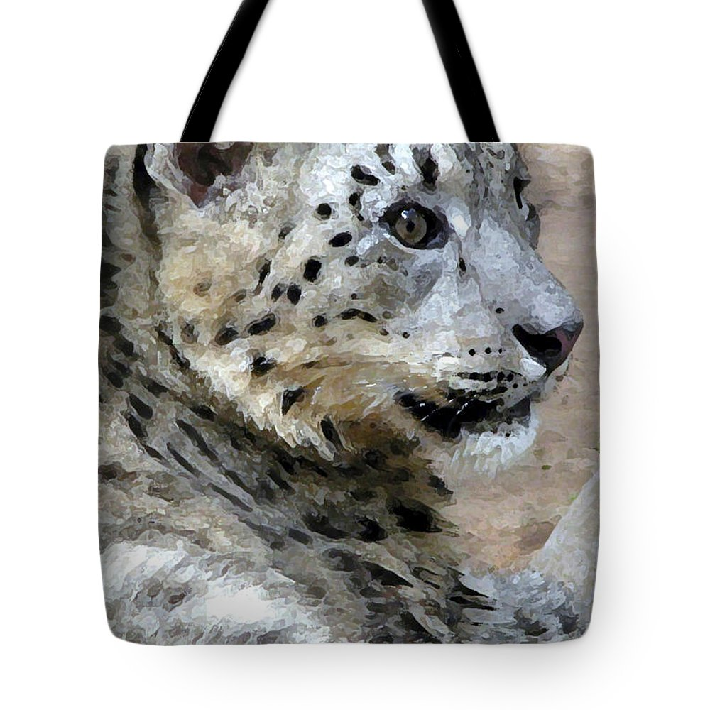 Cat Tote Bag featuring the painting Snow Leopard by Stephen Anderson