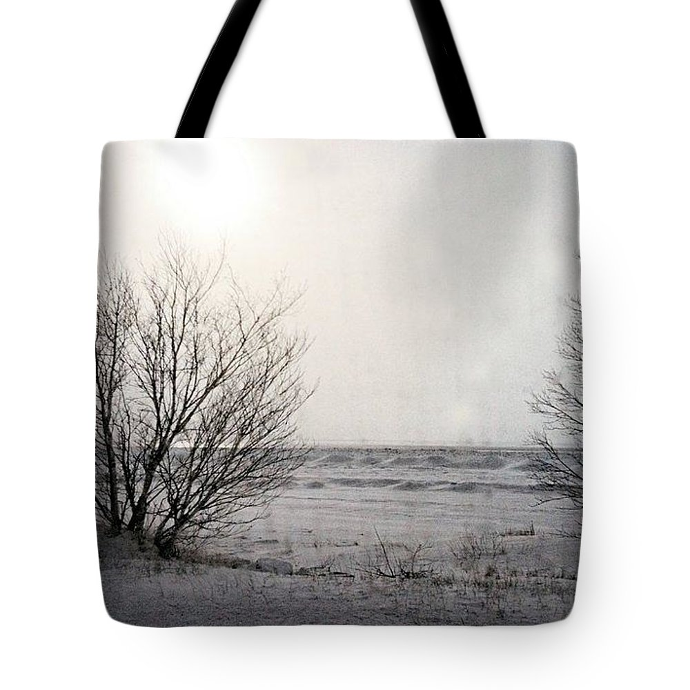 Snow Tote Bag featuring the photograph Snow On The Lake by Kendall Tabor