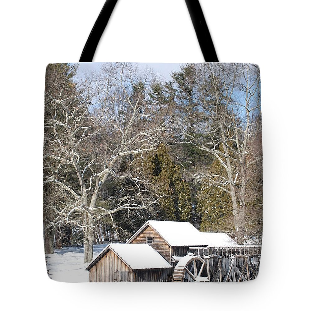 Snow Tote Bag featuring the photograph Snow On The Mill 2 by Eric Liller