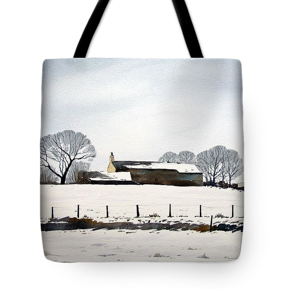 Winter Scene Tote Bag featuring the painting Snow Scene Barkisland by Paul Dene Marlor