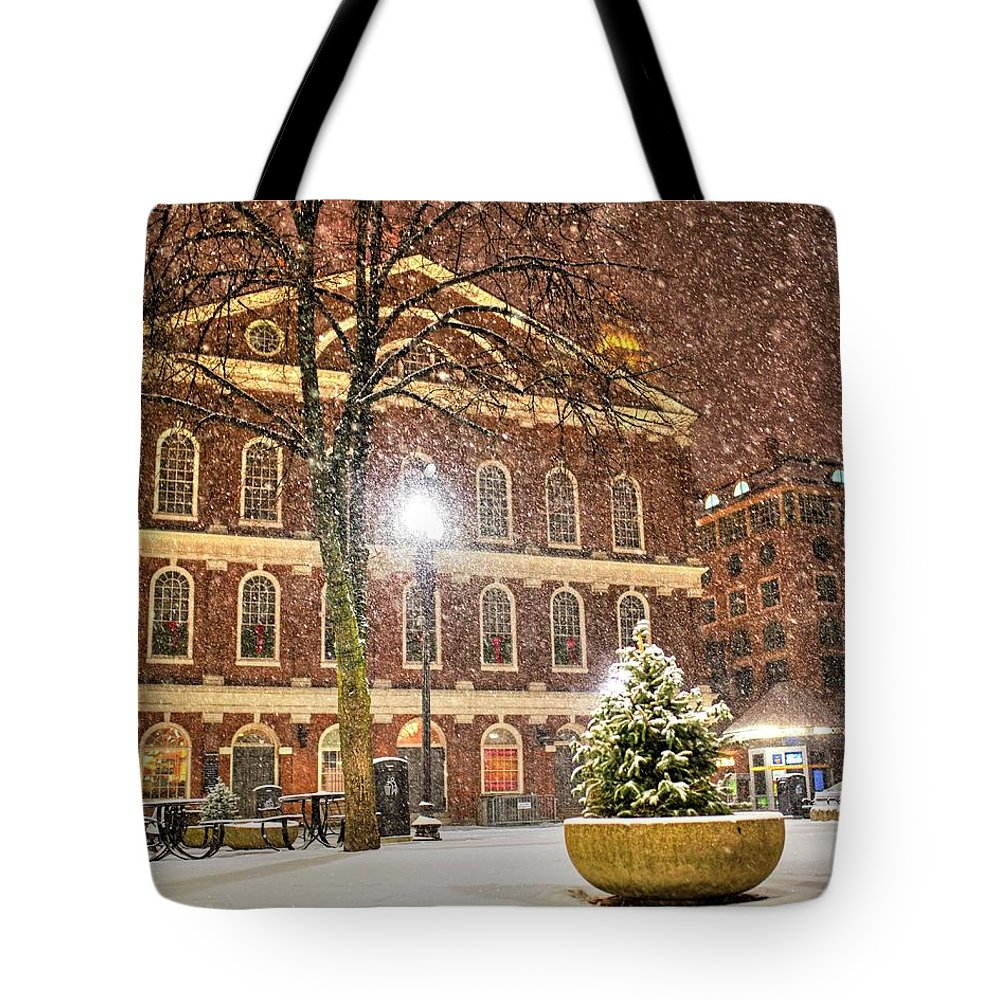 Boston Tote Bag featuring the photograph Snow Storm In Faneuil Hall Quincy Market Boston Ma by Toby McGuire