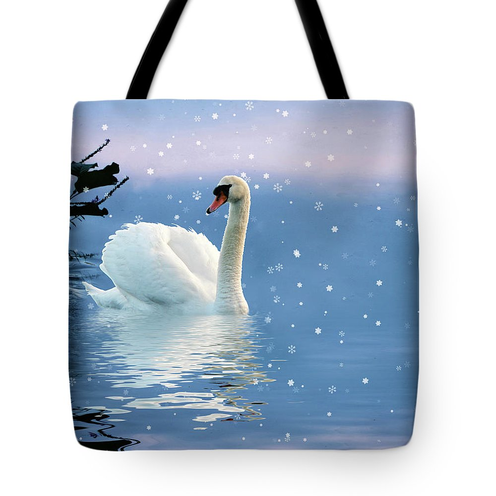 Swan Tote Bag featuring the photograph Snow Swan Swim by Jessica Jenney