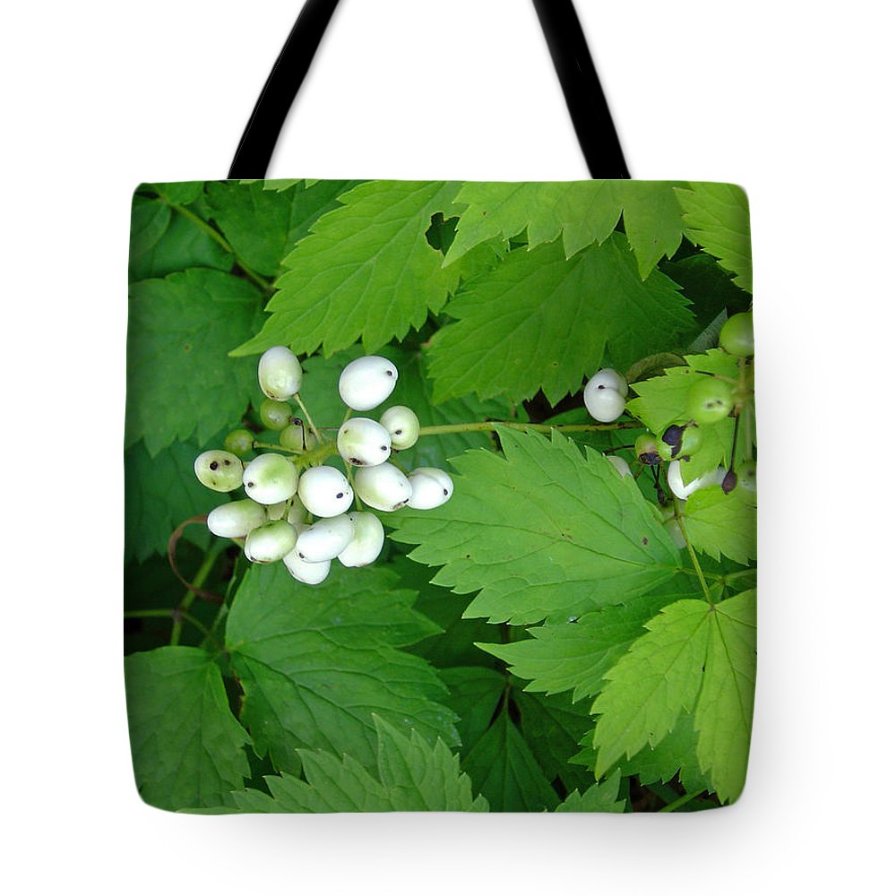 Snow White Bush Of Berries Tote Bag featuring the photograph Snow White Berries by Joanne Smoley