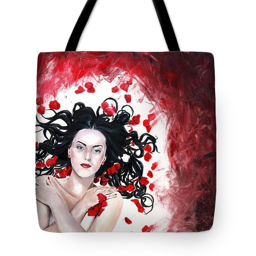 Snow White Tote Bag featuring the painting Snow White by Rhiannon Smith