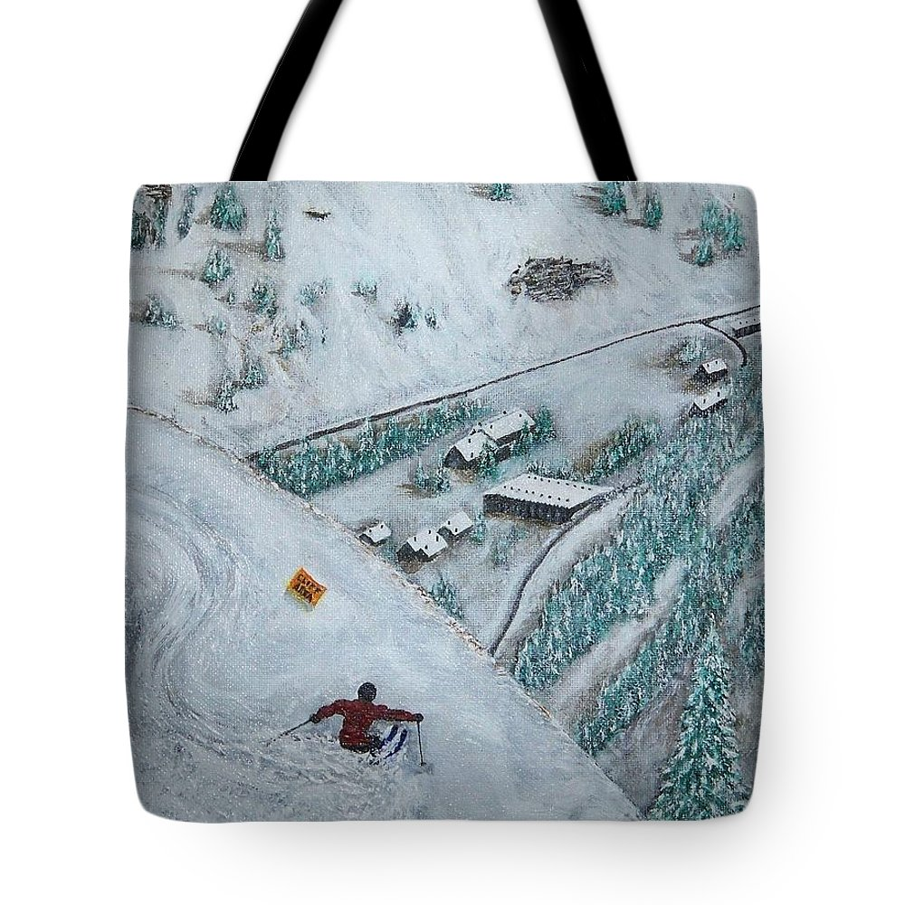 Ski Tote Bag featuring the painting Snowbird Steeps by Michael Cuozzo
