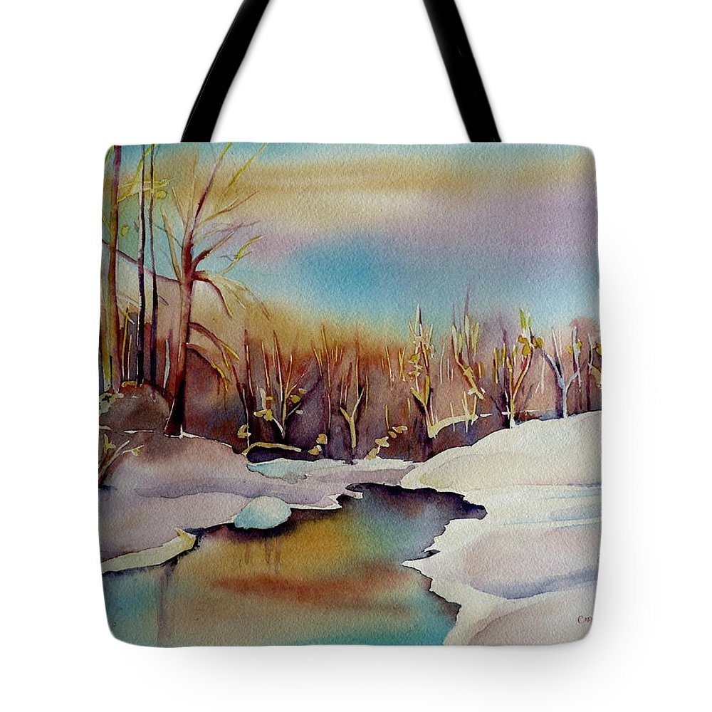 Winterscene Tote Bag featuring the painting Snowfall by Carole Spandau