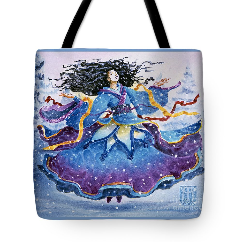 Snow Tote Bag featuring the painting Snowfall by Melissa A Benson
