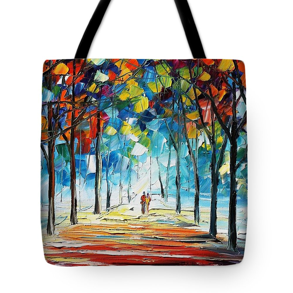 Afremov Tote Bag featuring the painting Snowing Alley by Leonid Afremov