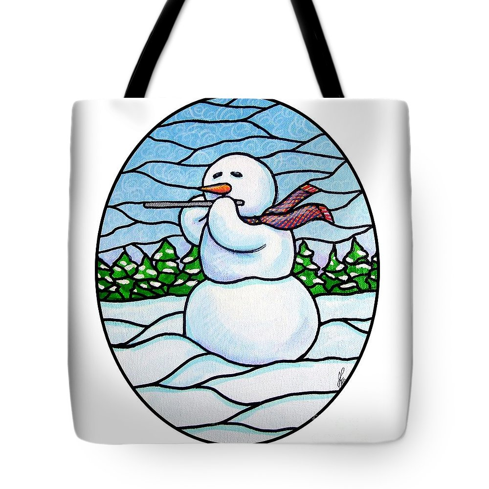 Snow Tote Bag featuring the painting Snowman Flutist by Jim Harris