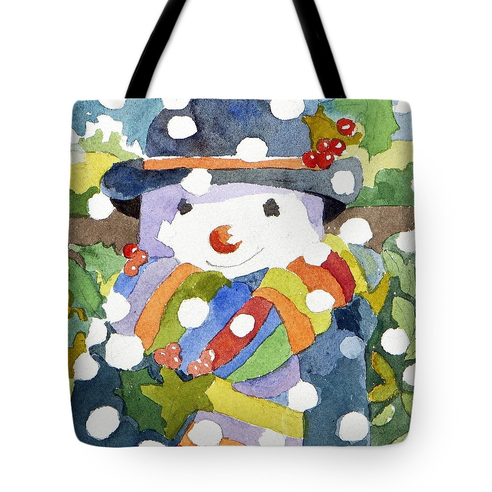 Snow Tote Bag featuring the painting Snowman In Snow by Jennifer Abbot