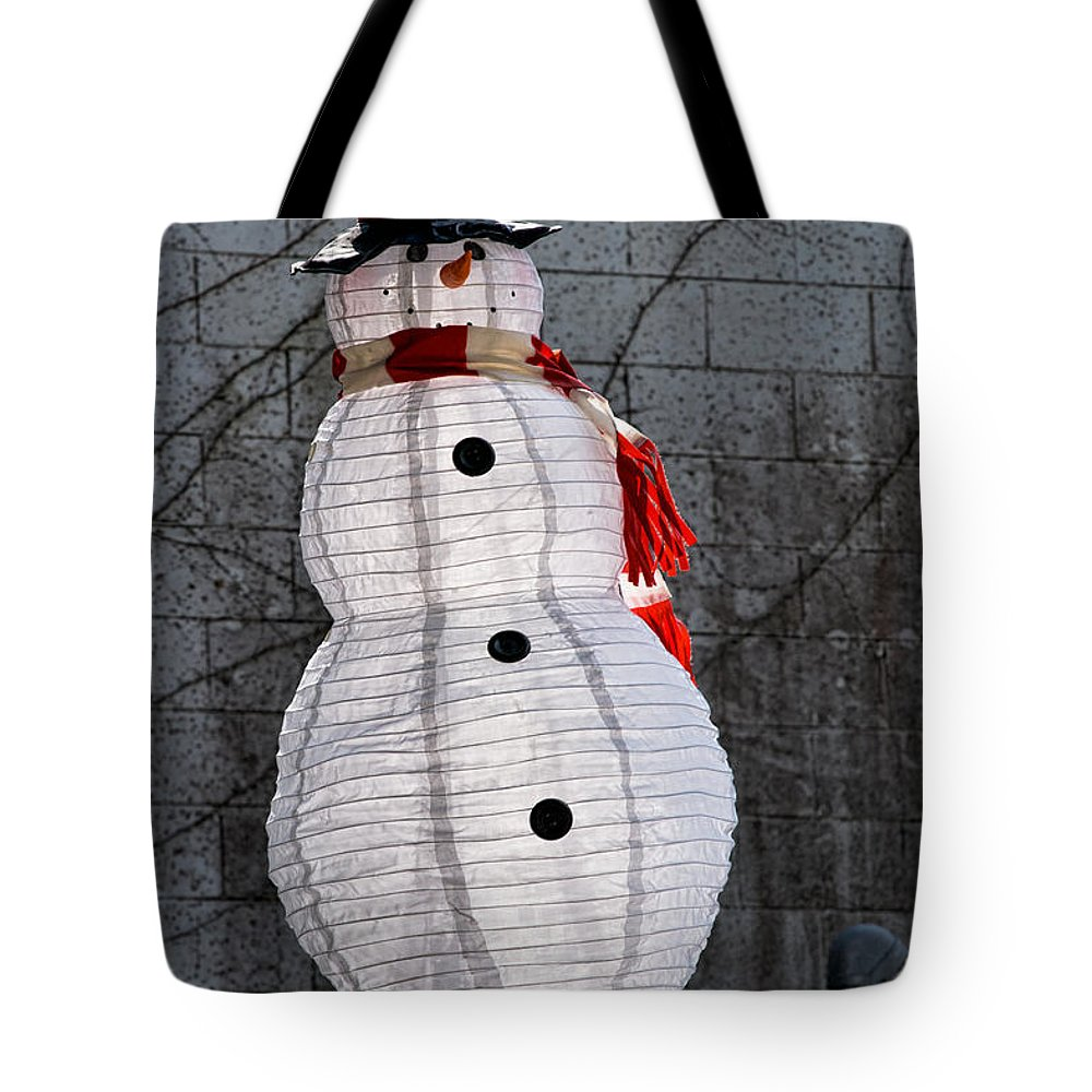 Snowman Tote Bag featuring the photograph Snowman On The Roof by Christopher Holmes