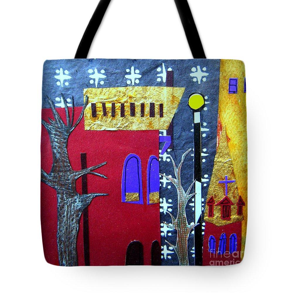 City Tote Bag featuring the mixed media Snowstorm Backbay by Debra Bretton Robinson