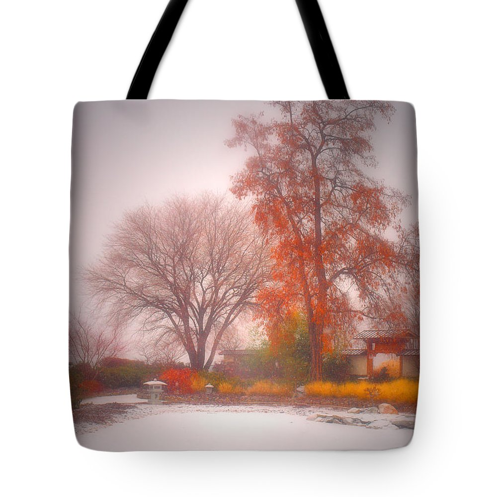 Japanese Gardens Tote Bag featuring the photograph Snowstorm In The Japanese Gardens by Tara Turner