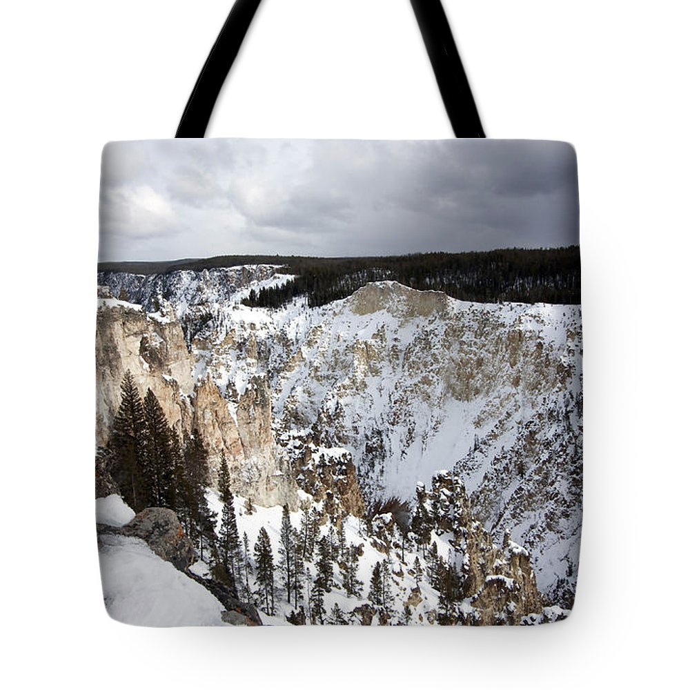 Landscape Tote Bag featuring the photograph Snowy Canyon by Mary Haber