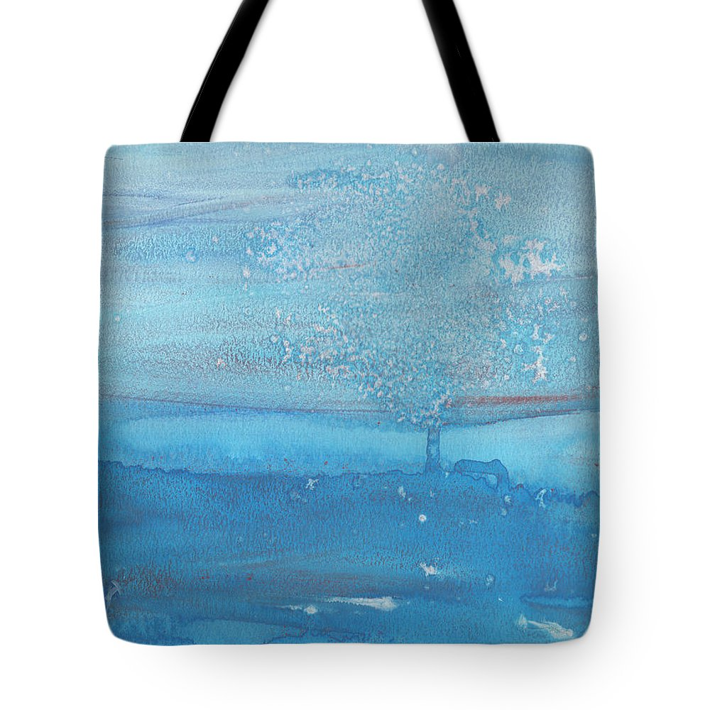 Lonely Cold Snow Night Tree Missing Love Scream Frozen Sad Scare Blue Water Color Watercolor Painting Snowy Winter Tote Bag featuring the painting The Lonely Tree by Rula Bashi