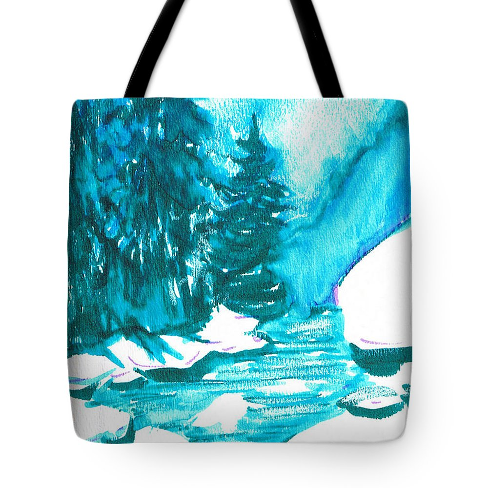 Chilling Tote Bag featuring the mixed media Snowy Creek Banks by Seth Weaver