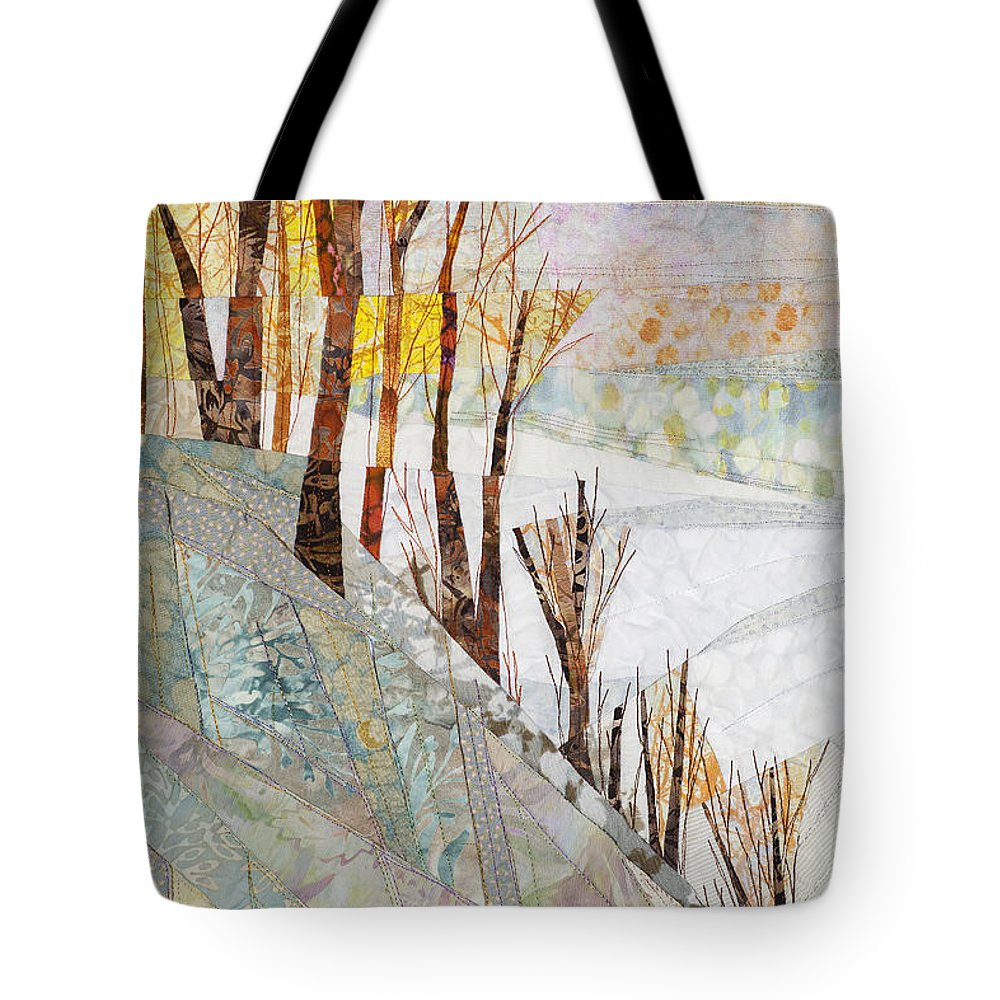 Tree Tote Bag featuring the tapestry - textile Snowy Dawn by Linda Beach