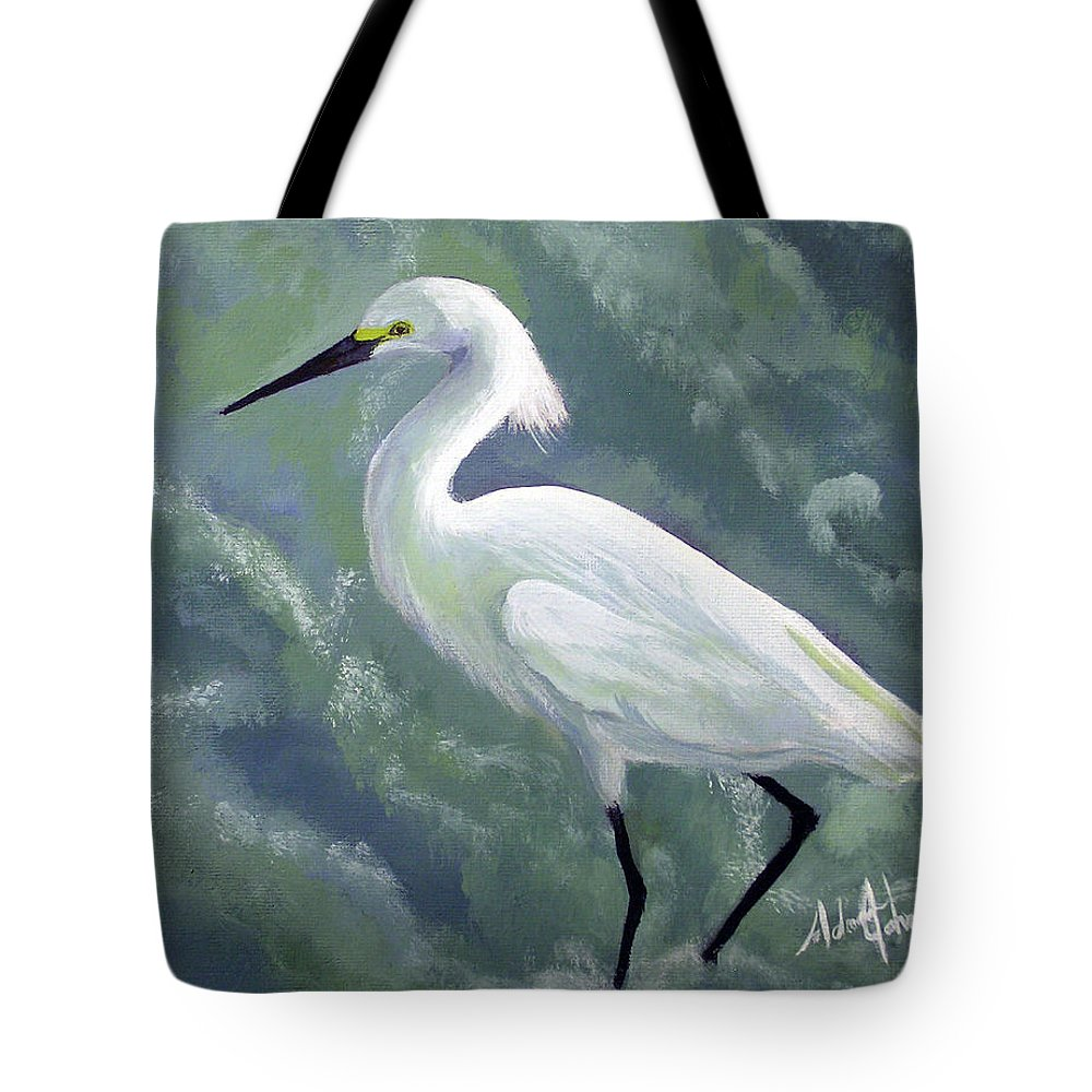 Egret Tote Bag featuring the painting Snowy Egret In Water by Adam Johnson