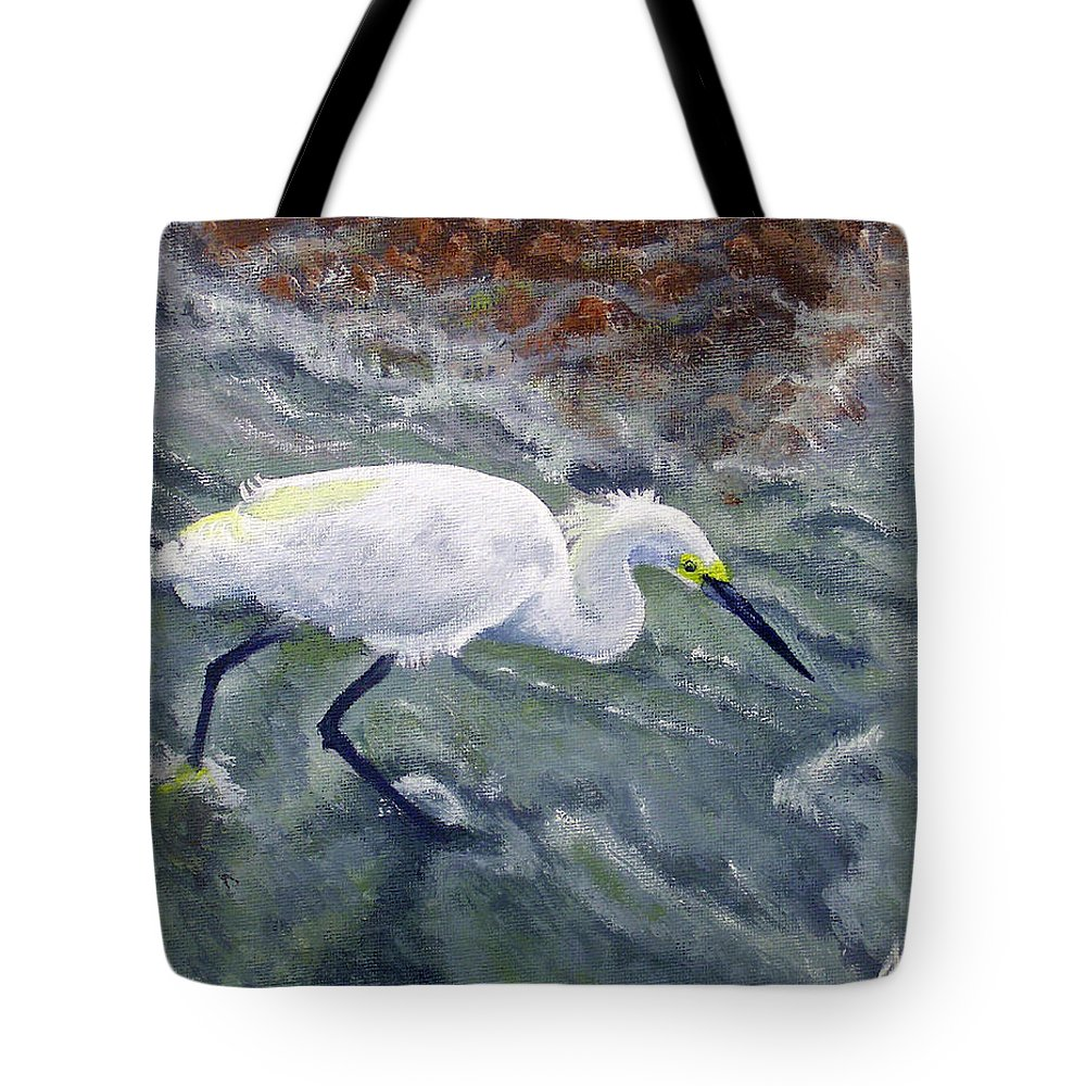 Egret Tote Bag featuring the painting Snowy Egret Near Jetty Rock by Adam Johnson