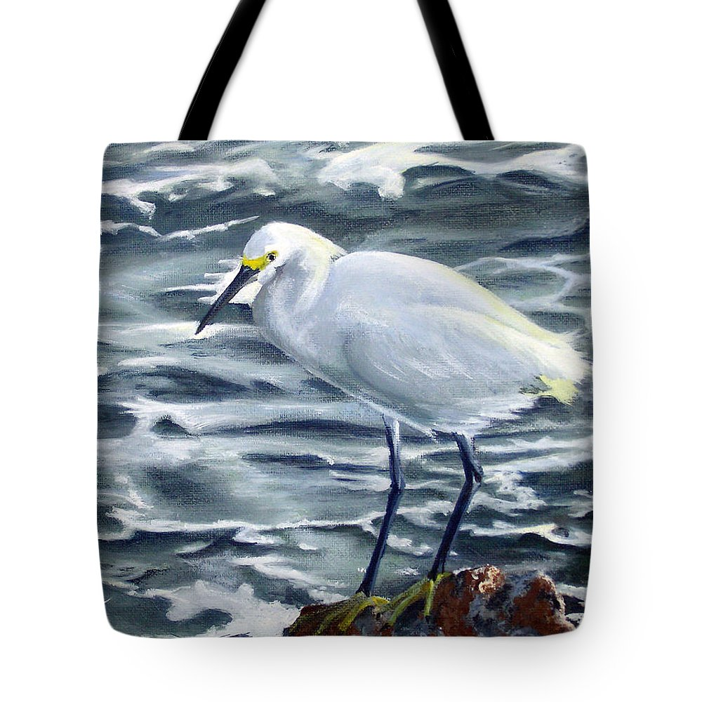 Egret Tote Bag featuring the painting Snowy Egret On Jetty Rock by Adam Johnson