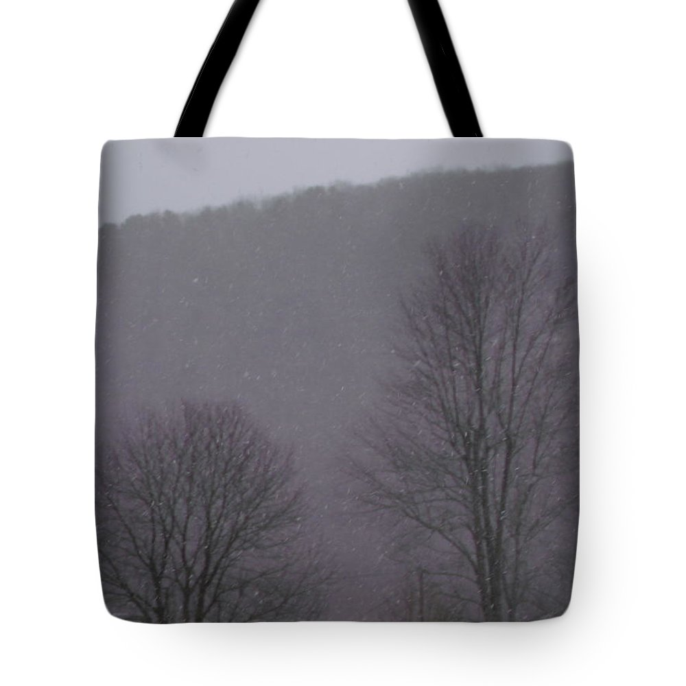 Snow Falling Tote Bag featuring the photograph Snowy Evening by Jeremiah Wilson
