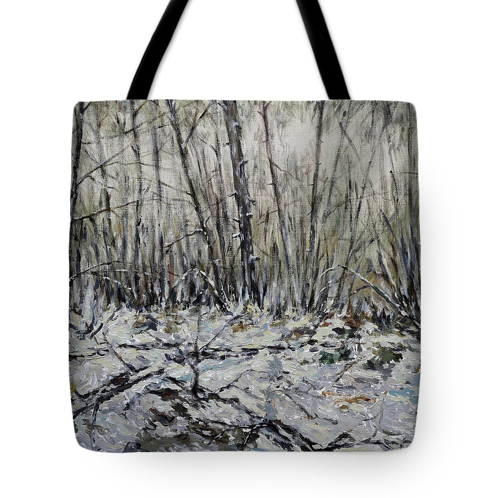 Painting Tote Bag featuring the painting Snowy Forest by Eugene Kuperman
