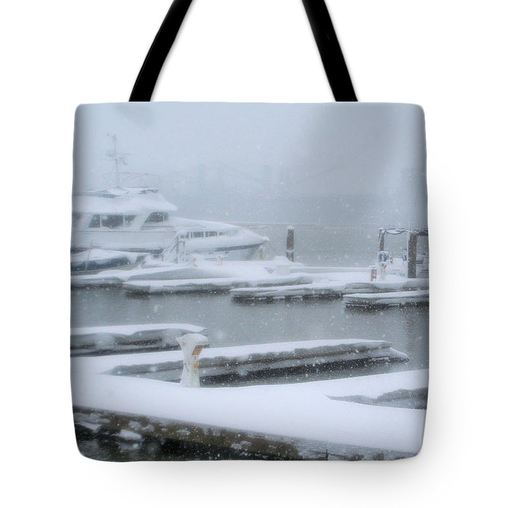 Tote Bag featuring the photograph Snowy Harbor by Ania M Milo