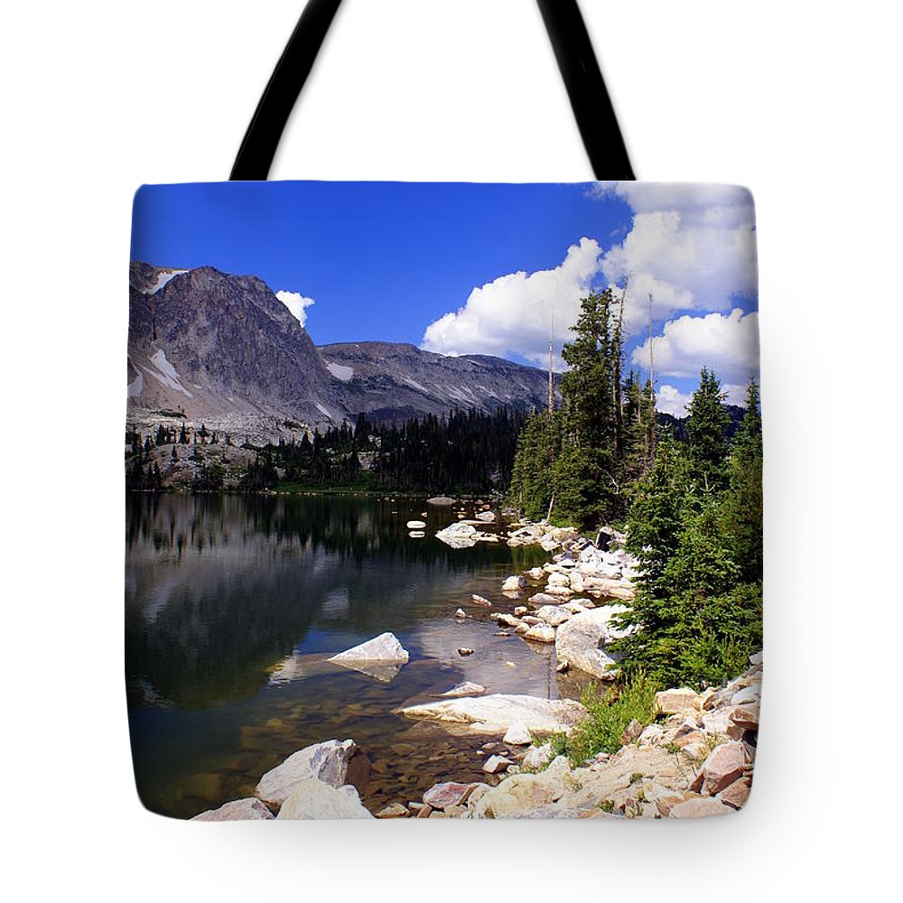 Snowy Mountains Tote Bag featuring the photograph Snowy Mountain Lake by Marty Koch