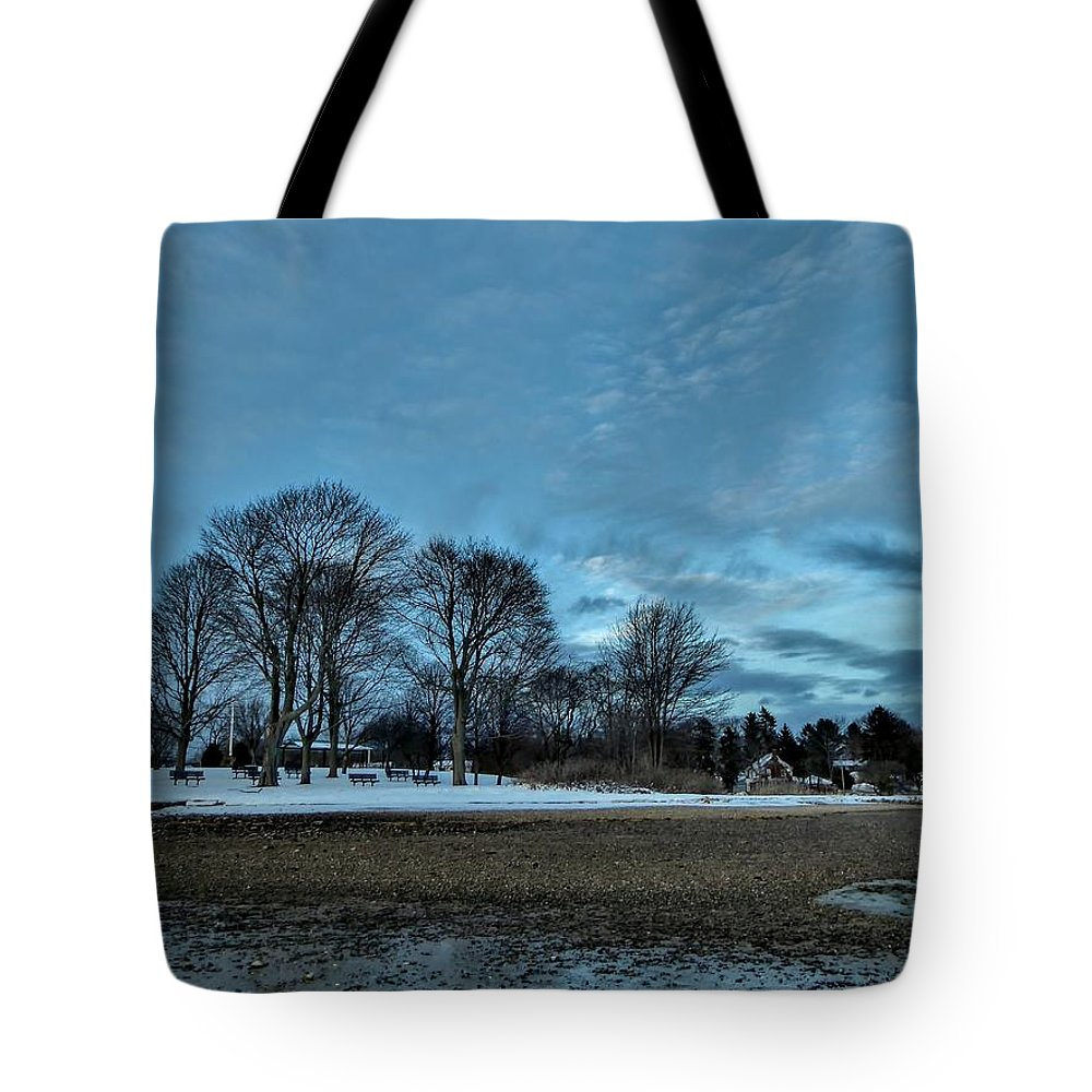 Park Tote Bag featuring the photograph Snowy Obear Park, Beverly Ma, At Dusk by Scott Hufford