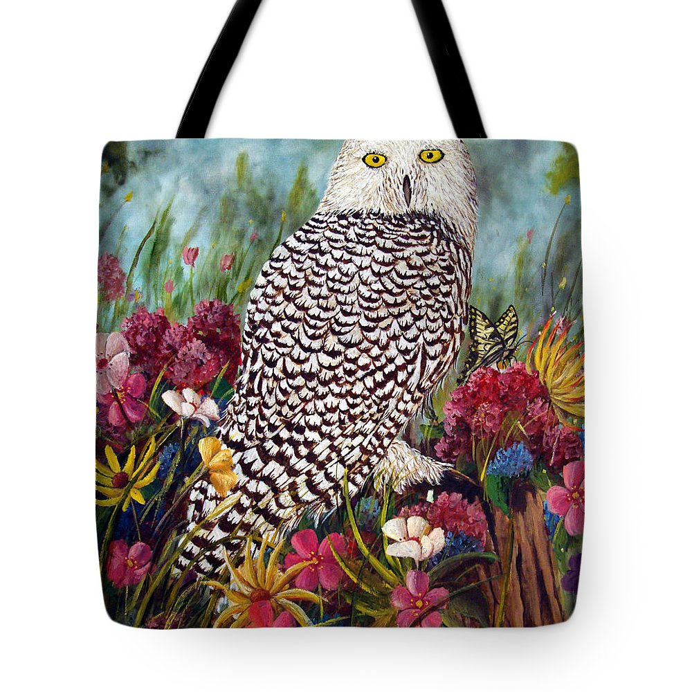 Owl Tote Bag featuring the painting Snowy Owl by David G Paul